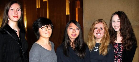 Victoria Saadi, Zoe (Jia) Xiang, Chloe Cho, Kathleen Brennan, Taylor Dempsey. Not pictured: Jacqueline Godin.