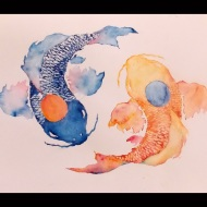 Balance - 12x16 Watercolor, by Kathleen Brennan '15 - This piece symbolizes the balance in my spirit. The bright fish shows the passion I have for art and the dark fish symbolizes the struggles that I overcome. My art helps me to overcome challenges in my life, as well as leading me towards a better relationship with God.