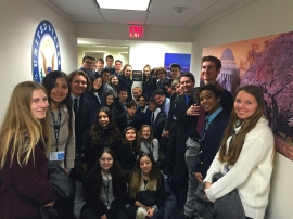 Students visit Senator Kamala Harris' office to thank her for the inauguration tickets.